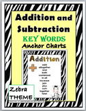 Zebra Theme Classroom Decor Addition & Subtraction Chart - Math Key Word Posters