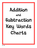 Addition and Subtraction Key Words Charts