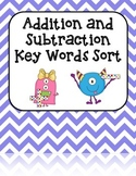 Addition and Subtraction Key Words Sort