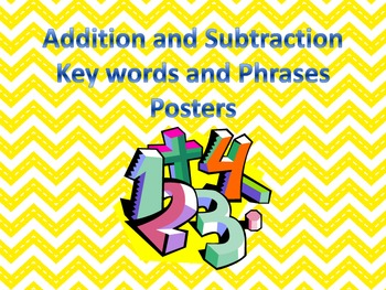 Addition and Subtraction Key Words and Phrases Posters