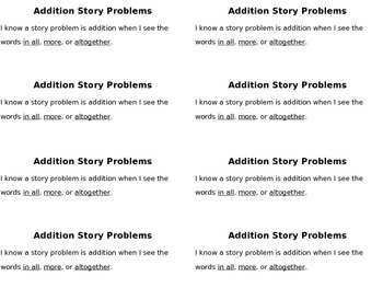 Addition and Subtraction Story Problems: Kindergarten - 1st Grade