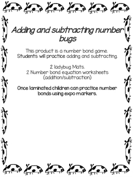 Addition and Subtraction Ladybug Bonds