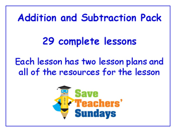 Addition and Subtraction Lessons Bundle / Pack (29 Lessons