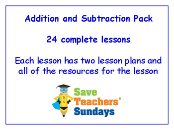 Addition and Subtraction Lessons Bundle / Pack (24 Lessons for 1st to 2nd grade)