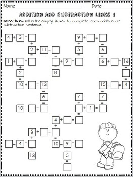 Addition and Subtraction Links Worksheet Set (Common Core Aligned)
