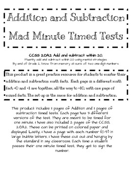Addition and Subtraction Mad Minute Timed Test