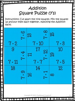 Addition and Subtraction Madness: Square Puzzles for Basic Fact Practice