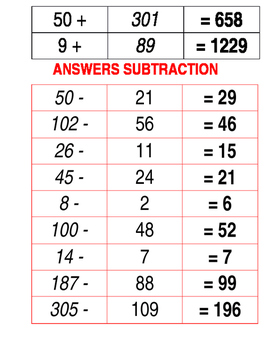 Addition and Subtraction Match