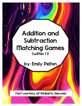 Addition and Subtraction Matching Games (Pictures to Equations [Within 11!])