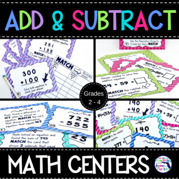 Addition and Subtraction Matching Math Centers