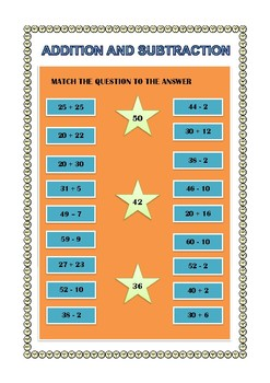 Addition and Subtraction Matching Worksheet