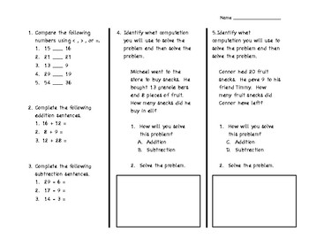 Addition and Subtraction Math Assessment