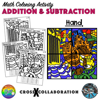 Addition and Subtraction Math Colouring Activity: Set D (Hand)