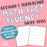 Addition and Subtraction Math Fact Fluency Timed Tests