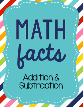 Addition and Subtraction Math Facts
