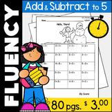 Addition and Subtraction Math Facts Fluency Kindergarten: