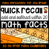 Addition & Subtraction Math Facts - 20 Enrichment Activiti