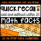 Addition & Subtraction Math Facts - 20 Enrichment Activities NO PREP Printables