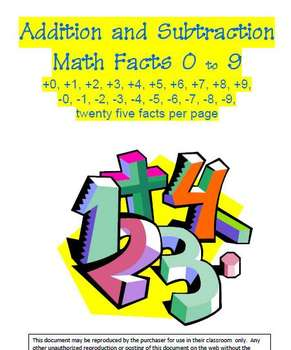 Addition and Subtraction Math Facts Zero to Nine by TeachersRock60 ...