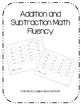 Addition and Subtraction Math Fluency Within 10