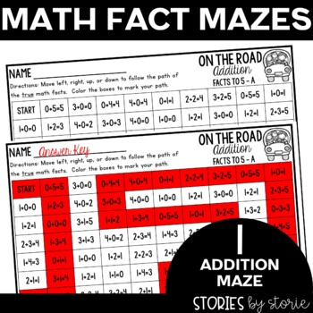 Addition and Subtraction Math Maze Sample