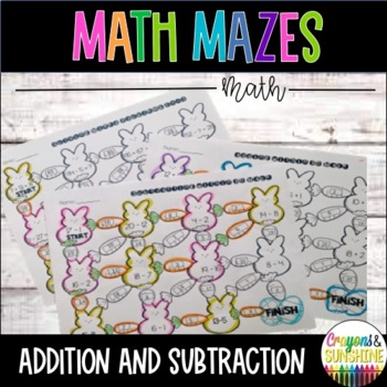 Addition and Subtraction Math Maze- Spring