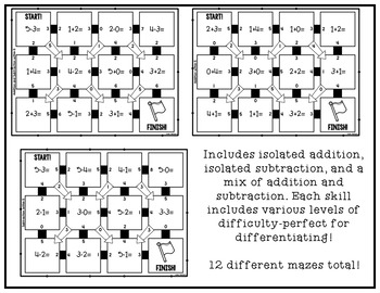 Addition and Subtraction Math Mazes