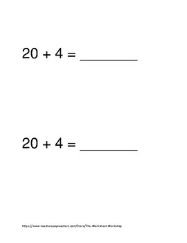 Addition  and Subtraction Math Minute Grades K and 1