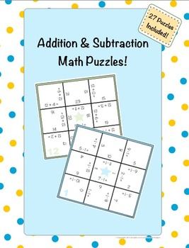 Addition and Subtraction Math Puzzles! {27 Puzzles}