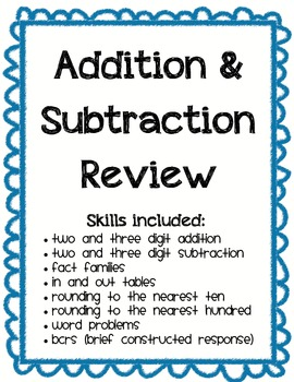Addition and Subtraction Math Review- 2 and 3-Digit Numbers
