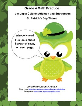 Addition and Subtraction Math Review Worksheets-Grade 4-St. Patrick's Day Theme