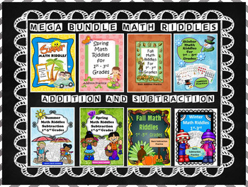 Addition and Subtraction Math Riddles Bundle