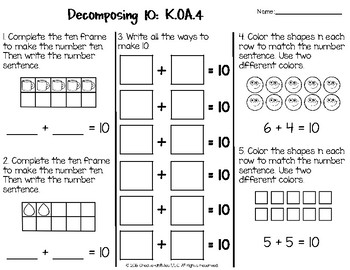 Addition and Subtraction Math Tests for Kindergarten