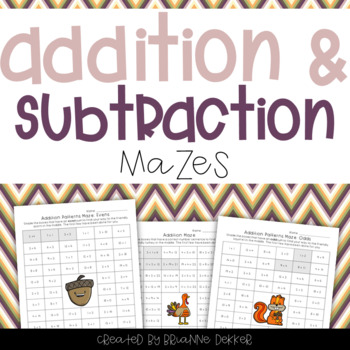 Addition and Subtraction Maze Worksheets