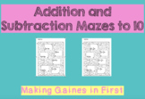 Addition and Subtraction to 10 Mazes