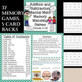 Addition and Subtraction Mental Math Memory Matching Games
