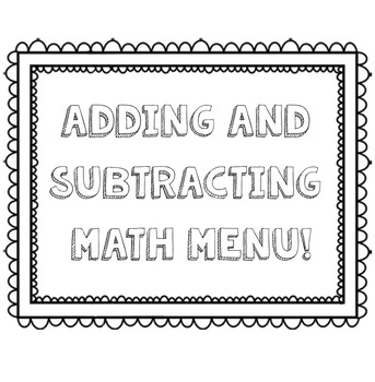 Addition and Subtraction Menu