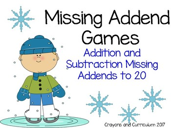 Addition and Subtraction Missing Addend Games