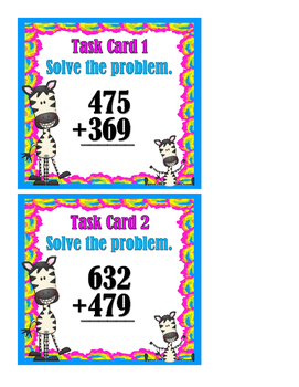 Addition and Subtraction Mixed Problems - 3 and 4 Digit - Task Cards