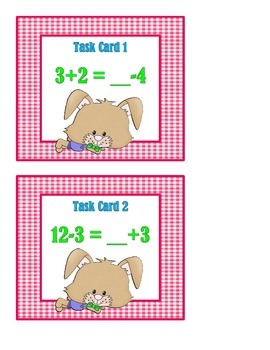 Addition and Subtraction Mixed Problems:  Balance the Equation Task Cards