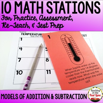 Addition and Subtraction Models within 1,000 Test Prep Math Stations