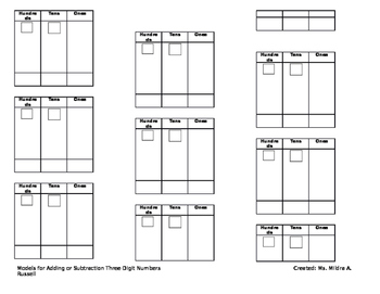 Addition and Subtraction Models for 3 Digit Numbers