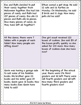 Addition and Subtraction Multi-Step Word Problems Sheet 2