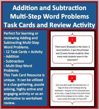 Addition and Subtraction Multi-Step Word Problems - Task Cards and Activity