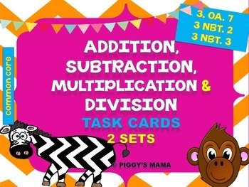 Addition and Subtraction, Multiplication and Division Task Cards Bundle