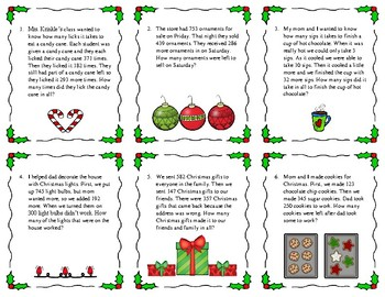 Addition and Subtraction Multistep Math Problems Task Cards ~Christmas
