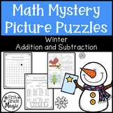 Winter Theme Addition and Subtraction Mystery Picture Puzzles