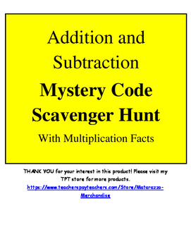 Addition and Subtraction Mystery Word Scavenger Hunt