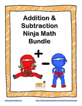 Addition and Subtraction Ninja Math BUNDLE!  Fact Fluency Timed Tests