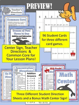 Oceans of Fun Addition and Subtraction Center Games Bundle